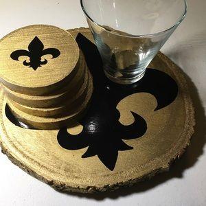 Wooden handmade Tray/Coasters set.